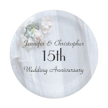 Vintage Lace Paper Plates 15th Wedding Anniversary