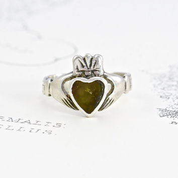 Vintage Claddagh Ring, Sterling Silver Hands & Connemara Heart, Love Token Loyalty Friendship Symbol, Statement Irish Bride Bridal Jewelry