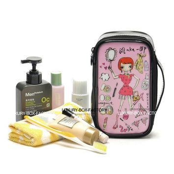 LMF9GW Designer Multi Style Cute Cartoon Graphic Cosmetic Bag Travel Organizer Toiletry Bag with handle