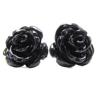 15mm synthetic coral carved rose flower earring pair black