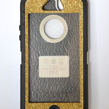 Otterbox Case iPhone 5 Glitter Cute Sparkly Bling Defender Series Custom Case Gold Champagne/ Black