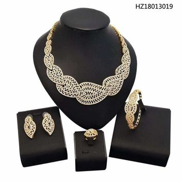 Yulaili Coming Indian Party Costume Gold Color Zircon Ad Jewelry Set For Wedding