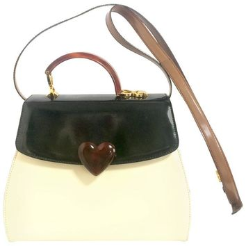 Vintage MOSCHINO white, black, brown patent enamel handbag, shoulder bag with heart motif. Adorable purse by Red Wall