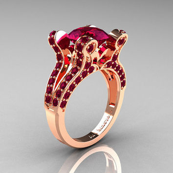 Hexe - French Vintage 14K Rose Gold 3.0 CT Raspberry Red Garnet Pisces Wedding Ring Engagement Ring Y228-14KRGRRG