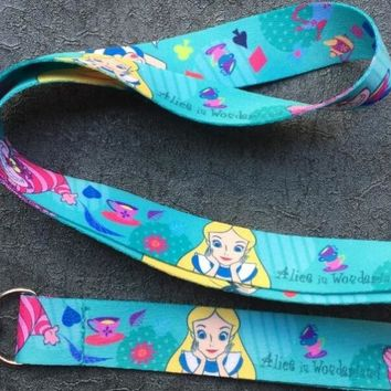 12pcs cartoon Alice In Wonderland Princess cat Key Lanyard Badge ID Cards Holders Neck Straps with Keyring Gifts Party Favors