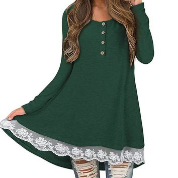 Female Solid Wine Red A-Line Dresses Winter Dress Women Sexy Casual Lace Patchwork Autumn Long Sleeve Mini Dress Plus Size GV045