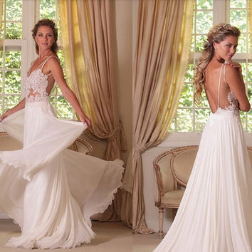 a824ebdcba2 Sexy Backless Wedding Dresses A Line Chiffon And Lace Bridal Dress  Spaghetti Straps Long Bridal Gown
