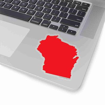 Wisconsin State Shape Sticker RED