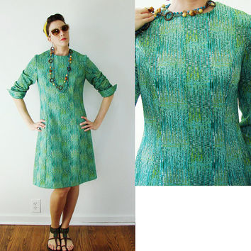 VINTAGE 1950s Retro Atomic Dress Mid Century Modern Blue & Green Small