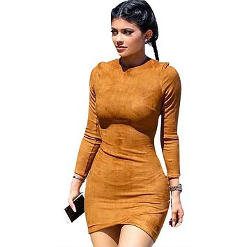 Long Sleeve Slim Party Dress Sexy Club Brown Vestido Women Winter Dresses Kylie Skin Tight Faux Suede Bodycon Dress