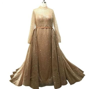Luxury Sequined Long Detachable Train Evening Dress Gold Long Sleeve Lace up Back Prom Dresses