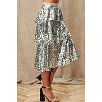 Sparkle In Her Eye Sequin Skirt (Silver)