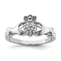 Sterling Silver Genuine Multi Diamond Claddagh Ring