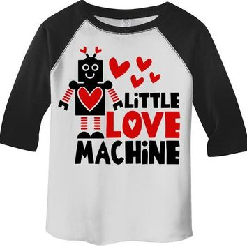 Kids Valentine's Day T Shirt Little Love Machine Shirts Cute Adorable Valentine Tshirt Toddler Tee 3/4 Sleeve Raglan