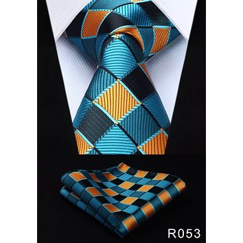 Men's Silk Coordinated Tie Set - Teal Orange Squared