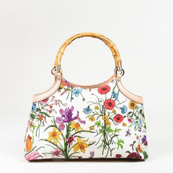 "Gucci White Multi ""Flora"" Print Canvas Bamboo Handle Bag"