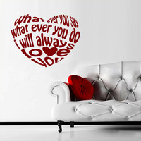 Wall Decal Vinyl Sticker Decals Heart Sign Words Letters Love Always (z1753)