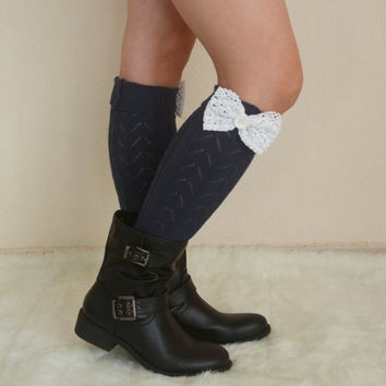 Navy knit lace bow leg warmers - chunky leg warmers- girly leg warmers boot socks women's accessory fashion socks christmas gifts