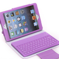Wireless Bluetooth Keyboard Leather Case Stand Cover for Apple iPad mini