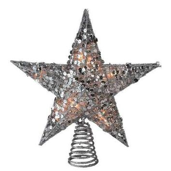 "12"" Glittering Silver Christmas Star Tree Topper - Clear Lights"