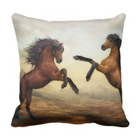 Playing ponies throw pillow