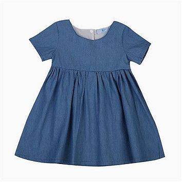 Fashion Princess Baby Kids Girl Short Sleeve Denim Dress Party Pageant Formal Dresses 0-24M