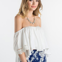Natalia White Off the Shoulder Crochet Sleeve Top