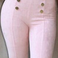 High Waist Buttons Decoration Long Slim Pants