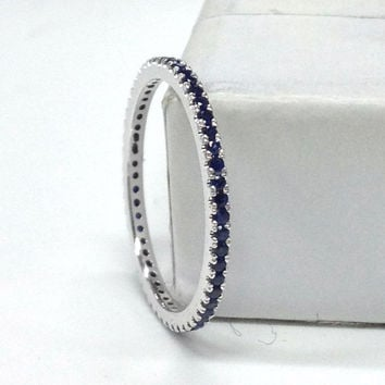 Sapphire Wedding Ring 14K White Gold,Round Cut Blue Sapphires,Full Eternity Matching Band,Anniversary Rings,Stacking ring,Fashion Fine Band