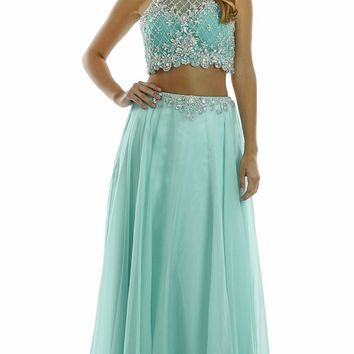 Two Piece Halter Top Prom Dress poly #7012