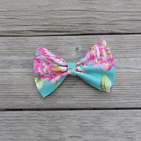 Floral Large Bow, Turquoise French Barrette. Flower Hair Accessory, Spring Summer Hair Clip