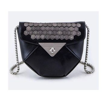 LMF78W Black Studded Faux Leather Bag