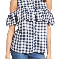 Love, Fire Gingham Cold Shoulder Top | Nordstrom