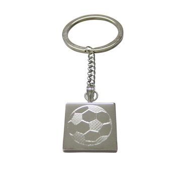 Silver Toned Etched Soccer Ball Keychain