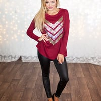 Hot Sparkly Chevron Tunic Burgundy