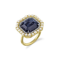 Ceylon Sapphire and Akoya Pearl Ring with Diamonds - Yellow Gold