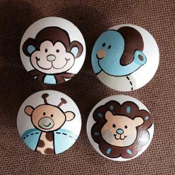 Hand Painted Zoo Fun Drawer Pulls / Dresser Knobs / Closet Handles for Kids Rooms and Nursery Rooms