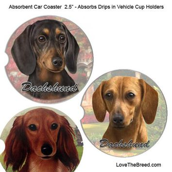 Dachshund Absorbent Car Coaster