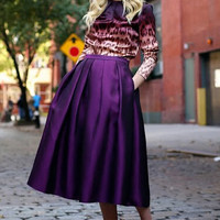 High Waist Pleated Purple Midi Skirt