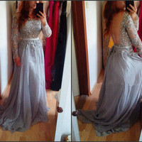 Gorgeous Prom Dresses,Crystal Beaded Evening Dresses,Backless Long Sleeves Dress