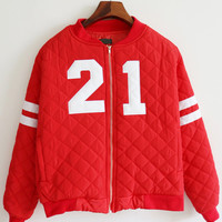 Red Striped Number Patch Zipper Varsity Jacket