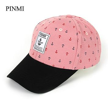 [PINMI] Summer Snapback Baseball Cap Women 2017 Pink Letter Bone Adjustable Cotton Hip Hop Caps Cute Anchor Hats For Women