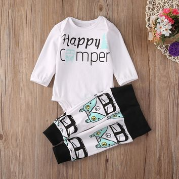 """Happy Camper"" Baby Boy Cotton Print Romper Set"
