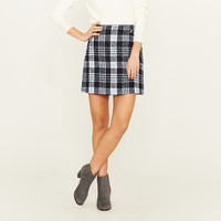 BOUCLE ZIP DETAIL SKIRT