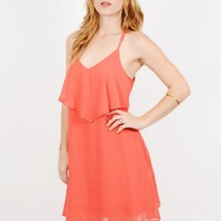 Layers of the Sun Coral Dress | Layered Flow Dress on Bogatte