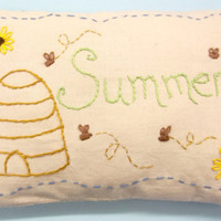 Primitive Busy As A Bee Hand Embroidered Mini Pillow