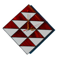 Wall Clock 3d geometric design in red and white colors, Unique Wall Decor, Modern Wall Clock, Stained Glass Wall Art