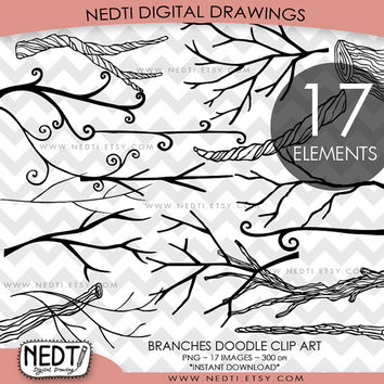 Branches Doodle Clip Art, Tree Branch Clipart, PNG, Digital Stamps Images, Instant Download