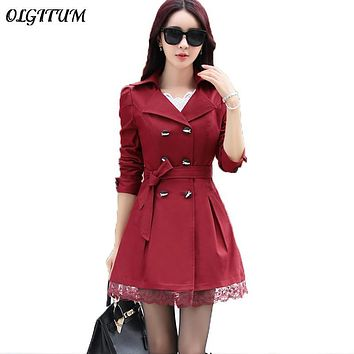 Trench Coat For Women 2017 Spring Coat Double Breasted Lace Slim windbreaker Female Autumn Outerwear long section Trench coat