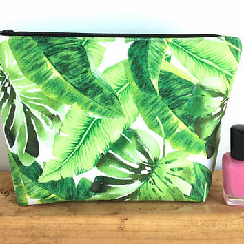 Tropical Bag - Large Makeup Bag - Gift for Her - Women's Birthday Gift - Tropical Cosmetic Bag